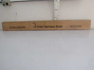 Vintage Wooden Ruler Advertising Bedford, Pennsylvania The First National Bank
