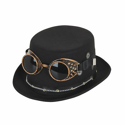 Steampunk Vintage Cogs Top Hat Black Goggles Gears Fancy Dress Costume  Accessory 399bb5a0f385
