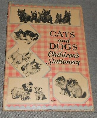 RARE Vintage CATS AND DOGS CHILDREN'S STATIONERY 1930s-40s?
