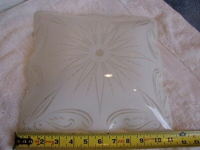 Vintage  Square White Frosted Ruffled Ceiling light shade  11 1/2 inches