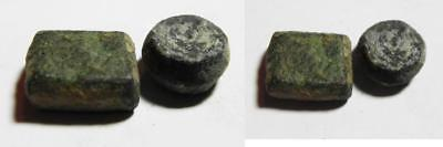 ZURQIEH -AS2238- LOT OF 2 ANCIENT BRONZE WEIGHTS, ISLAMIC. UMMAYED Ancient Coins