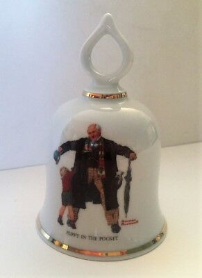 """""""Puppy in the Pocket"""" Vintage Norman Rockwell Collectible Bell - 1979 Ltd Ed."""