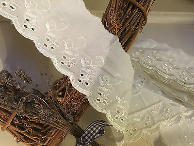 """3""""/7.5Cm Cream Cotton Broderie Anglaise Flat Lace *FREE 1ST CLASS POSTAGE*"""