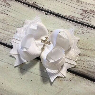 White Baptism / First Communion /Christening Stacked Boutique Hair Bow