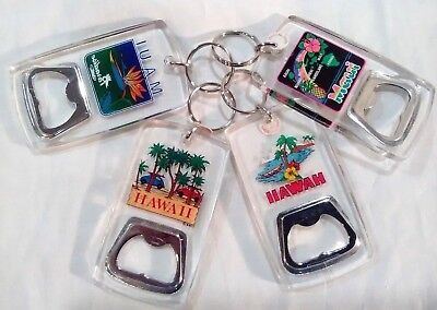 Lot of Four Hawaiian Island Themed Bottle Opener / Key Chains
