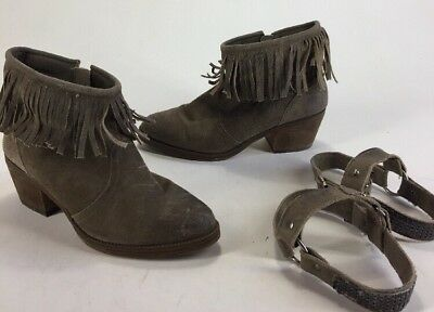 a8551088453 Womens Steve Madden Cavvvo Taupe Leather Western Cowboy Fringe Ankle Boots 9