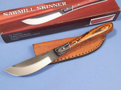 """SAWMILL SKINNER SM0020 Real File pakkawood fixed blade knife 8 3/8"""" overall NEW!"""