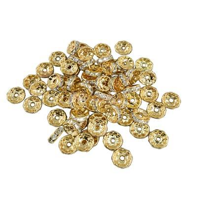 50pcs/Lot Crystal Rhinestone Rondelle Spacer Beads Light Gold Plated 10mm