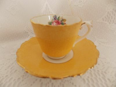 Coal Port Bone China yellow demitasse tea cup and saucer made in England