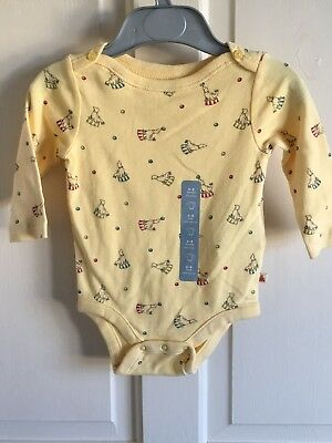 BNWT Baby Gap Long Sleeve Vest. Unisex. Age 3-6 Months. Yellow/ Seal Print