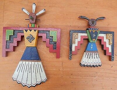 2 Unique Pieces Original Vintage Totem Type Painted American Folk Art