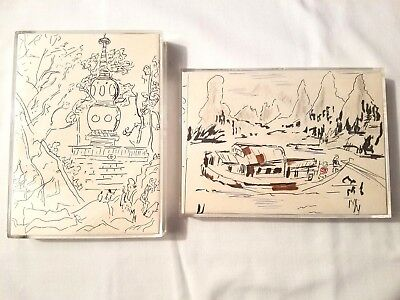"""Two Framed Original Japanese-Styled Sketches Pagoda & River Boat 7x5"""""""