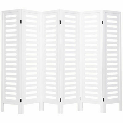 """6 Panel 67"""" Folding Room Divider Privacy Screen  Freestanding Wooden White New"""