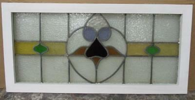 "LARGE OLD ENGLISH LEADED STAINED GLASS WINDOW Spectacular Floral 35.25"" x 17.25"""