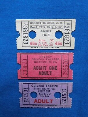3 Vintage West Virginia Theatre/ Drive-In Movie Tickets (Cinema)