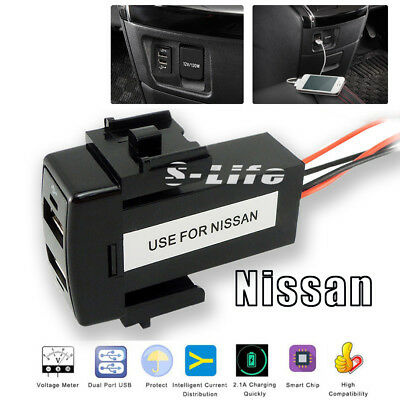 Car 12V 2.1A Dual USB 2 Port Dashboard Mount Phone Charger Special For Nissan