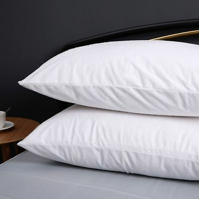 Paif of Cotton Terry Towelling Waterproof Pillow Protector Pillowcases w/ Zipper