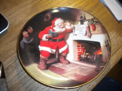 1993 Franklin Mint The Pause That Refreshes Santa Coca-Cola plate FREE SH