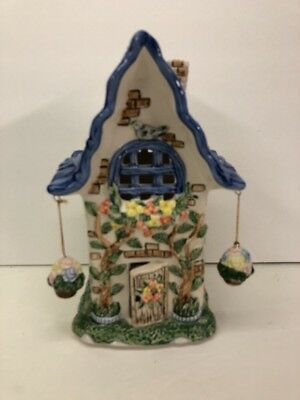 Ceramic Cottage Tealight House Luminary Blue with Hanging Baskets - New