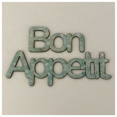 Bon Appetit Rustic French Blue Wooden Vintage Wall Art Unique Handmade Bespoke