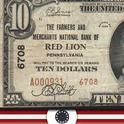 1929 $10 RED LION, PA National Banknote YORK COUNTY   A000931