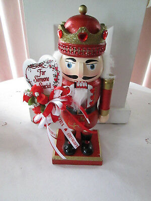 "10"" Handcrafted Valentines Day Nutcracker w Red "" Someone Special"" Heart & Roses"