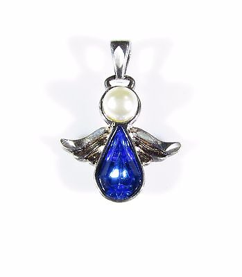 Sterling Silver Charm with an Angel and Blue Stone Signed MV