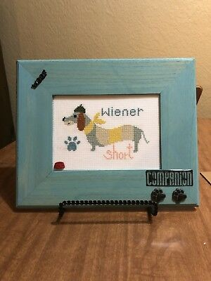 Cross Stitched Dachshund Framed Wall hanging