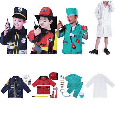 Kids Boy Girl Costume Police/Surgeon/Doctor Role Play Fancy Dress Up Uniform Set