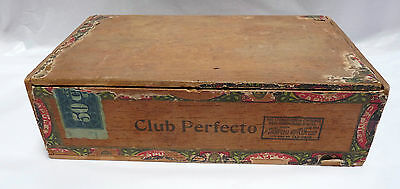 Le Flor de Capulet Club PERFECTO Wood Cigar Box 10c Straight Facotry No. 450 PA