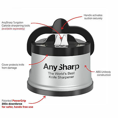 AnySharp Knife Sharpener With PowerGrip Sharpener Tool Gadget Utensil Classic