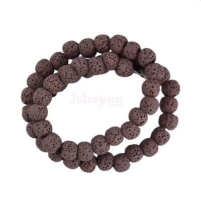 8 mm Lava Volcanic Rock Gemstone Loose Beads 15'' Strand Bead Pinkish Purple