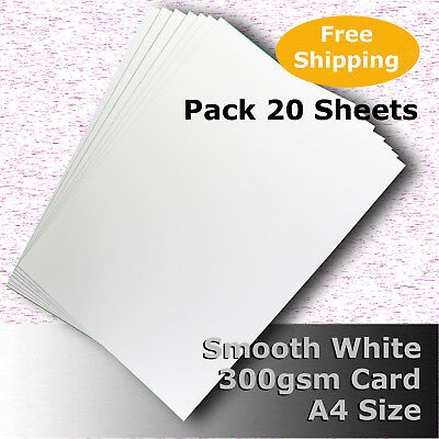 20 Sheets Smooth Finish White Card Quality A4 Size 300gsm Archival #H7308 #D1