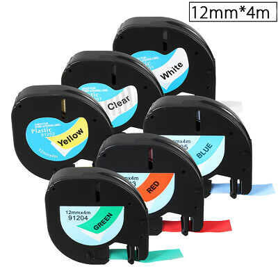 12mmx4m Plastic Label Tape Compatible For Dymo LetraTag 91201/91200 Labelmanager