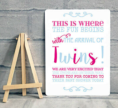 a5 twin boy girl baby shower thank you for coming table sign