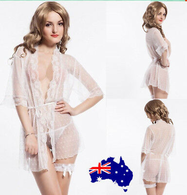 AU Valentines Sexy White Sheer Mesh Lace Dotted Trimmed Robe Lingerie sleepwear
