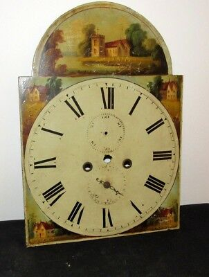 Stunning 19th Century Pictorial Grandfather Longcase Arched Clock Dial
