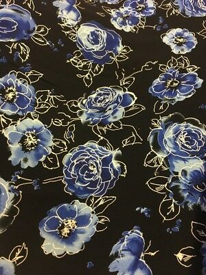 Navy With Large Blue Flowers Viscose Fabric By The Metre