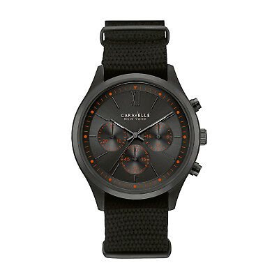 Caravelle Men's 45A130 Quartz Chronograph Orange Index Black Nylon 41mm Watch