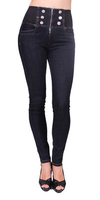 Câ€est Toi Jeans USA Women High Rise Skinny Jeans with 6 Front Button W7177