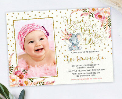 Pink Gold Elephant First 1st Birthday Invitation Party Invite Dream Big Floral