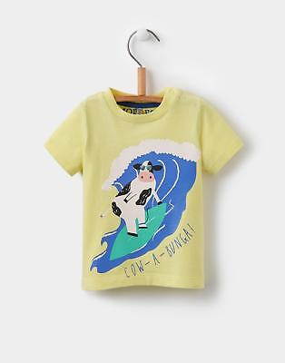 Joules Toddlers' Ben T-Shirt with Humorous Screen Print in Yellow Cow