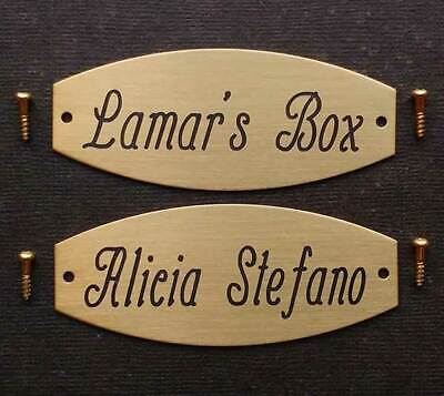 """Tack Trunk Plate Squared Oval Custom Engraved 3"""" X 1 1/4"""""""