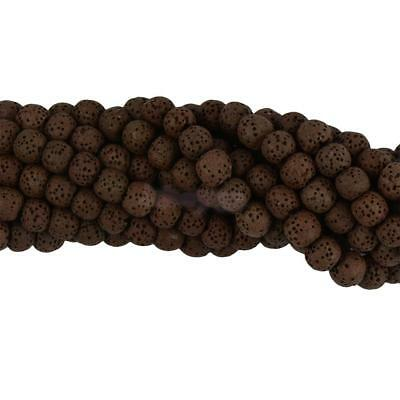 8mm Brown Lava Volcanic Rock Gemstone Loose Beads 15'' DIY Charm Findings