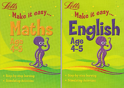 Letts Maths & English Age 4-5 Key Stage 1 Activity Learning Books - 2 Book Set