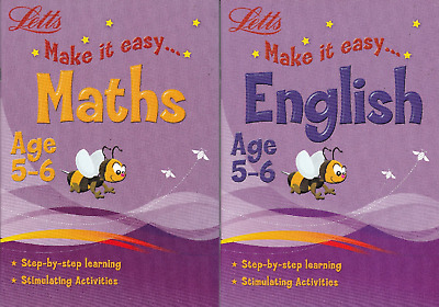 Letts Maths & English Age 5-6 Key Stage 1 Activity Learning Books - 2 Book Set