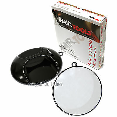 HAIR TOOLS Deluxe Round Black Salon Mirror - 27cm Viewing Area One-Handed Pro