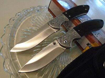 Timber Wolf Bowie & Folder Knife/Knives Duo Hunter Set TW574 Full Tang Blackwood