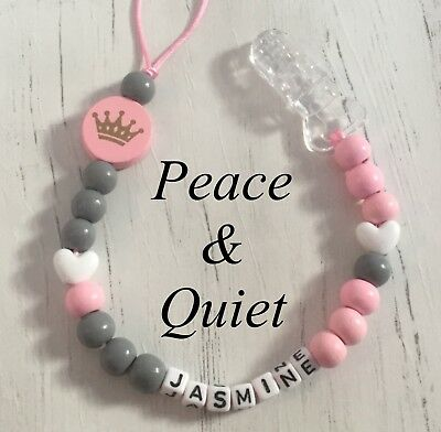 Personalised Dummy Clip💗Wooden💗Dummy Chain💗pink💗grey💗girl💗crown💗heart💗
