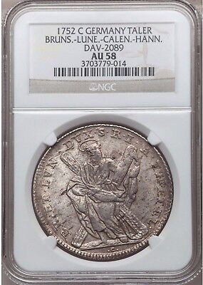 Germany 1752 С Silver St. Andrew Taler Brunswick-Luneburg Georg II NGC AU58